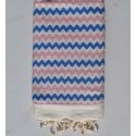 Zigzag ecru ,pink and blue fouta