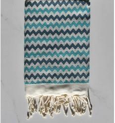 Beach towel zigzag cream, cobalt blue and turquoise