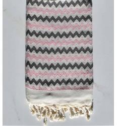 Beach towel zigzag cream, light baby pink and dark gray