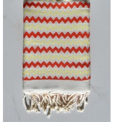 Beach towel zigzag White, bright red and light yellow