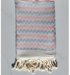 Beach towel zigzag ecru, light pink and sky blue