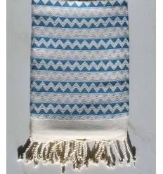 Beach towel zigzag ecru, Azure blue Mayan blue
