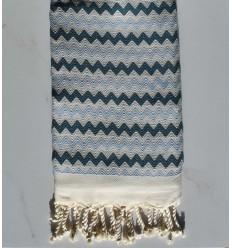Beach towel zigzag White, cobalt blue and maya
