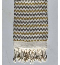 Beach towel zigzag cream, yellow biker and gray