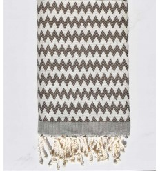 Beach towel zigzag gray quartz cream