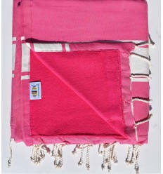 beach towel,doubled sponge pink, fuchsia