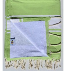 beach towel,doubled sponge green pistachio and White