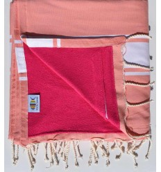 beach towel,doubled sponge almon and pink, fuchsia