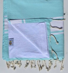 beach towel,doubled sponge blue acute marine and white
