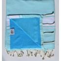 beach towel doubled sponge blue acute marine and celestial