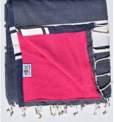 beach towel,doubled sponge blue jeans Fushi pink Fushia