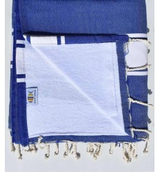 beach towel, doubled sponge blue Royal and white