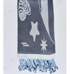 Beach towel Jacquard Starfish blue marine and smoked blue