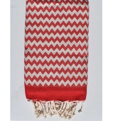 Beach towel zigzag red and creamy white