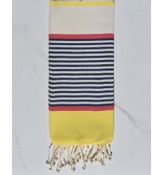 Child's flat beach towel dark blue, yellow, red, off-white