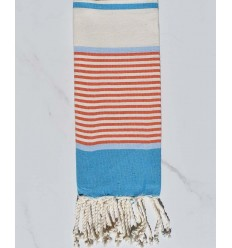 Child's flat beach towel blue, sky blue, orange and creamy white