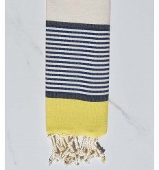 Child's flat beach towel yellow, slate, dark blue and off-white Child's flat beach towel yellow, slate, dark blue and off-white