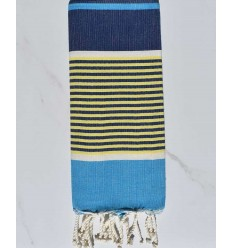 Child's flat beach towel azure blue, dark blue, yellow and white