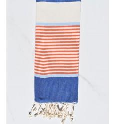 Child blue jeans, sky blue, orange and creamy white