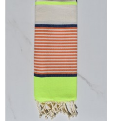 Child's flat beach towel fluo, jean blue, orange and off-white