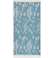 Beach towel Jacquard Starfish blue duck and blue azurin