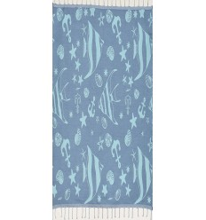 Beach towel Jacquard Starfish blue cornflower and blue clear sky