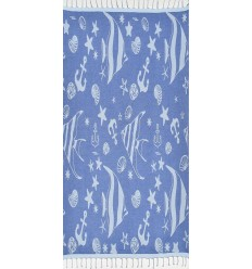 Beach towel Jacquard Starfish royal blue and mayan blue