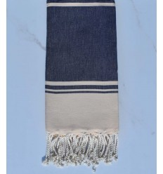 beach towel RAF-RAF midnight blue and pale yellow