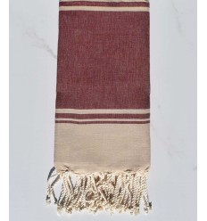 beach towel RAF-RAF red burgundy and beige