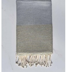 Beach towel lurex dark mouse gray with golden lurex thread