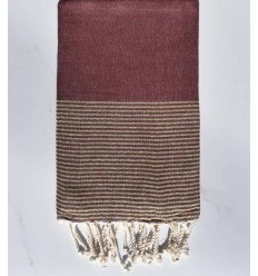 beach towel lurex flat Red Bordeaux with golden lurex thread