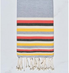 Beach towel flat Grey, White , pink watercolor, military green and yellow