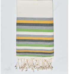Beach towel flat White cream, Grey, yellow, military green and light green