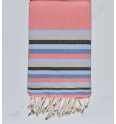 Beach towel flat pink incarnadine ,light blue ,beige, azure blue and green