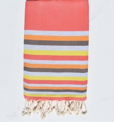 Beach towel Flat nacarat clear, gray, flesh, Brown and yellow