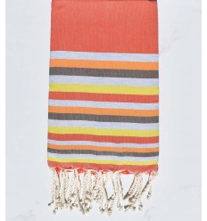 Beach towel Flat orange, gray, flesh, brown and yellow