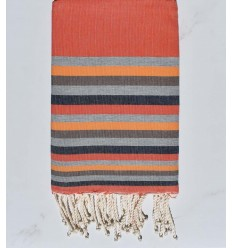 Beach towel Flat orange, dark gray,flesh, brown and blue