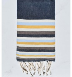 Beach towel flat denim blue, creamy white, light blue, yellow and brown