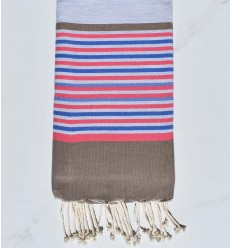 Beach towel flat gray, bisque, pink, blue and azure