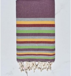 Beach towel flat Mauve, gray, yellow,red and light green