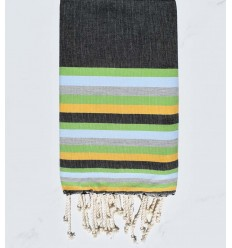 Beach towel flat black, green, blue, gray and yellow