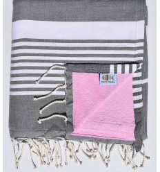 Beach towel doubled arthur sponge dark gray and pink