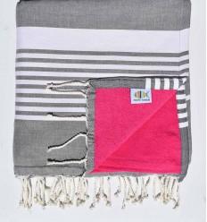 Beach towel doubled arthur sponge dark gray and fushia
