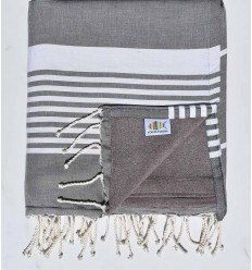 beach towel doubled sponge, dark gray and taupe