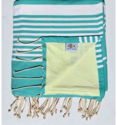 beach towel doubled sponge vert menthe ,vert lime