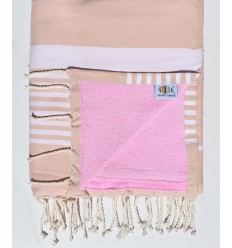 Beach towel doubled sponge pinkish beige and pink