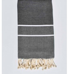 Beach towel chevron stone grey