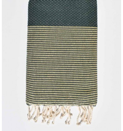 Beach towel lurex Honeycomb dark green