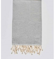 Beach towel lurex light grey with silver lurex thread