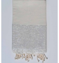 Beach towel lurex flat ecru mixed with with silver lurex thread